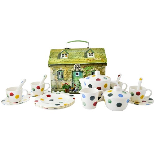 Melamine Teaset in case Polka Dots