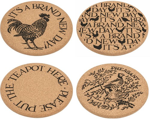 Cork trivets assorti of 4