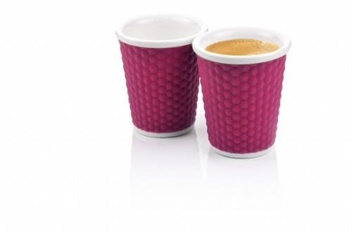 Set of 2 Honeycombs Coffee Cups 18cl Eggplant