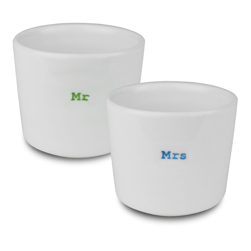 Egg Cups set - Mr /  Mrs